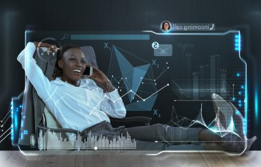 Businesswoman with virtual screen