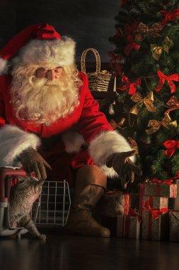 Santa Claus with cat