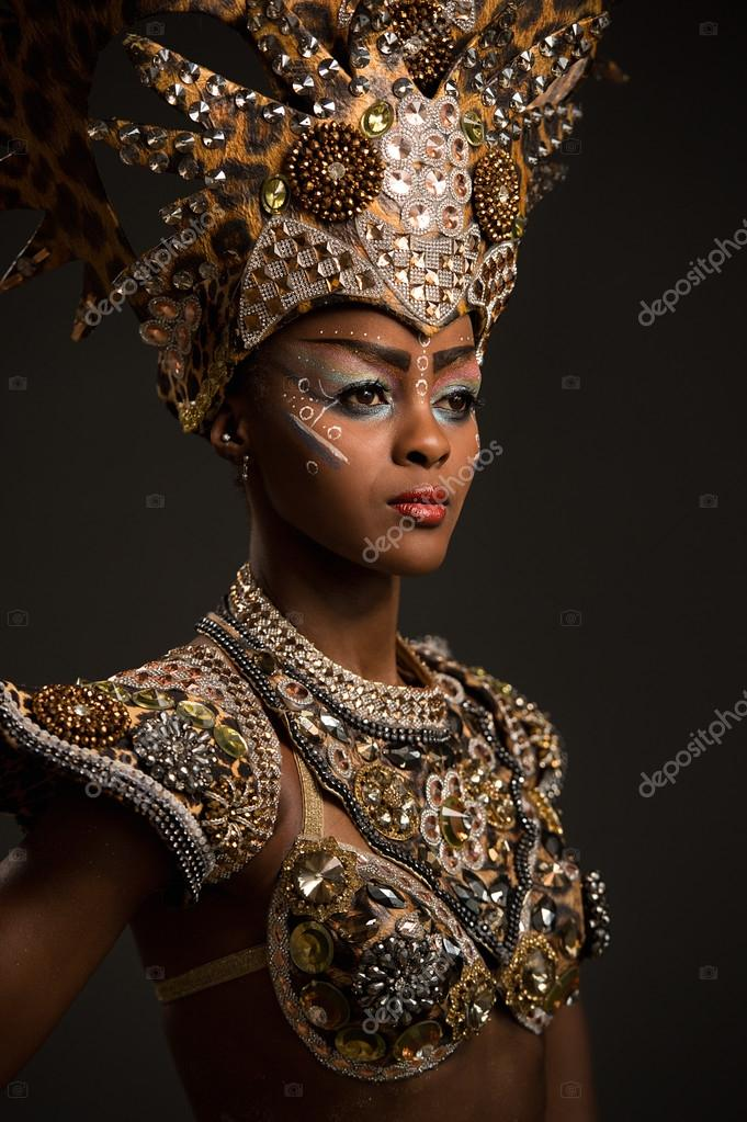 African woman in carnival dress