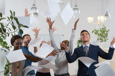 Group of excited businesspeople