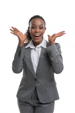 Surprised african business woman