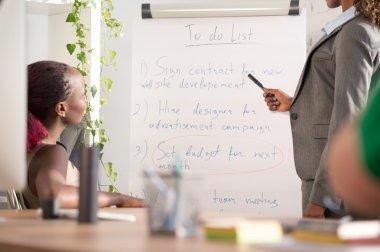 Businesswoman presenting  plan and idea