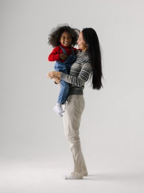 Mixed race mother and daughter