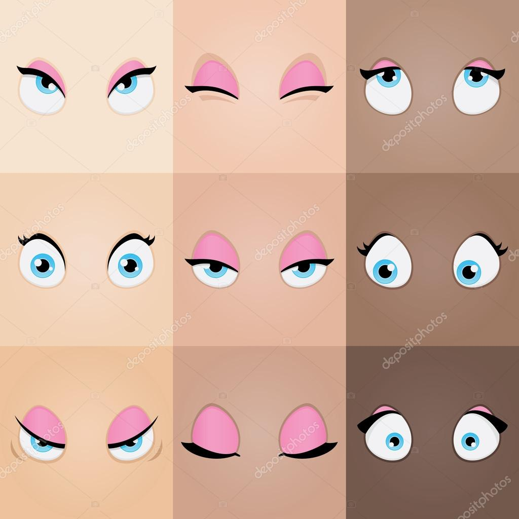 Set of cartoon girl eyes stock vector