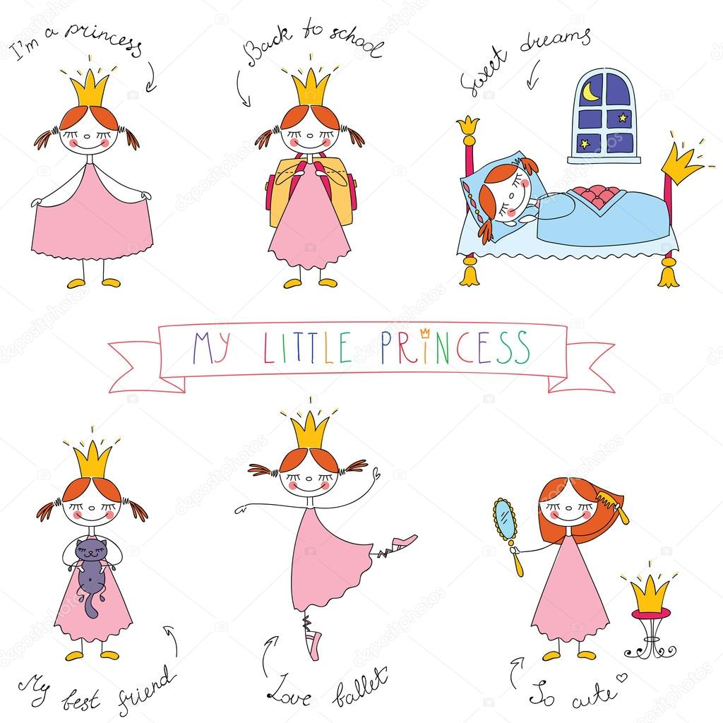 Set of cute princesses