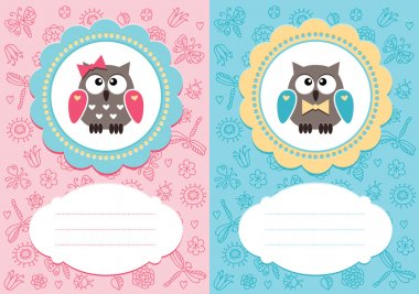 Baby cards with owlets