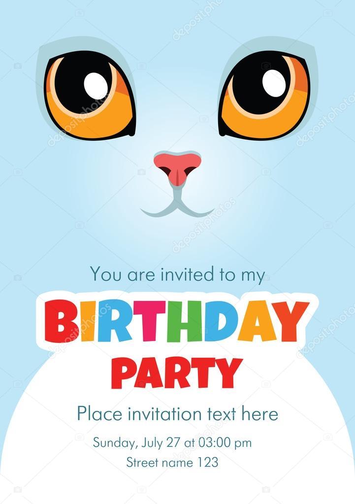 Carte dinvitation anniversaire image vectorielle slybrowney carte dinvitation anniversaire vector avec joli chat blanc un espace vide pour votre texte inclus vecteur par slybrowney stopboris Images