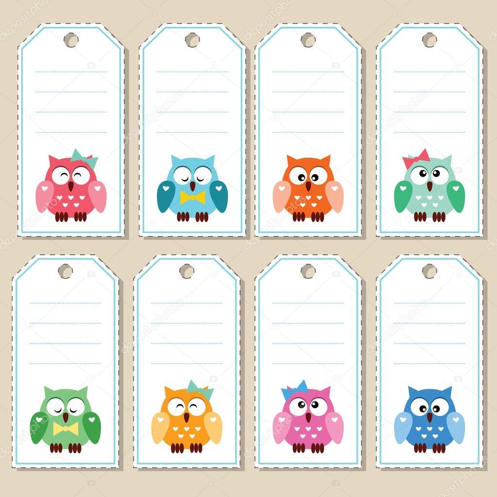 Etiquettes cadeaux hibou image vectorielle slybrowney - Etiquettes de noel gratuites ...