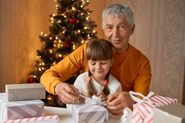 Old man in orange shirt playing with little daughter, packing Christmas presents, have happy and cam facials expressions, sitting at table in living room with fir tree.