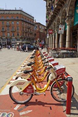 Bike sharing station at The Duomo Piazza in Milan
