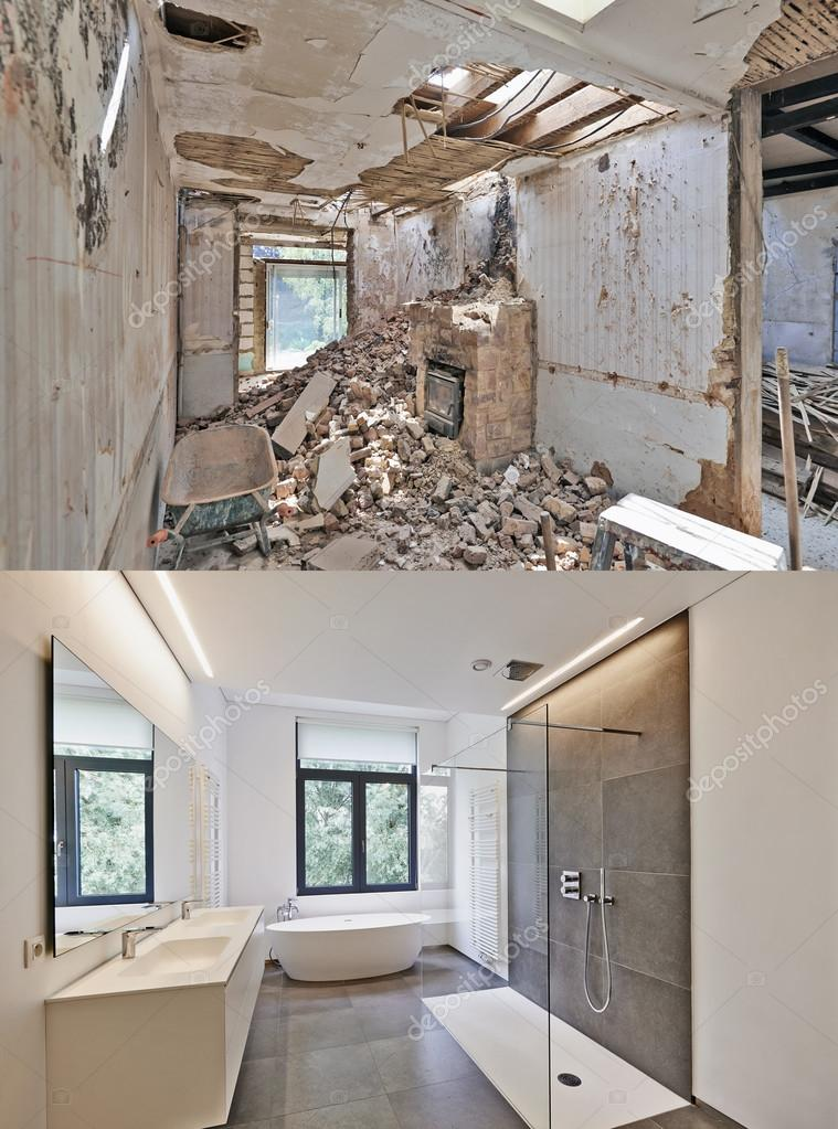 egy fürdőszoba felújítás előtt és után — Stock Fotó © Bombaert ...