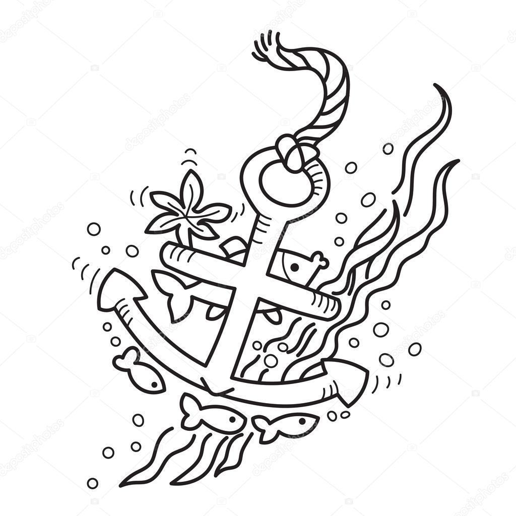 tekening gezonken anker stockvector 169 nevada31 80647322