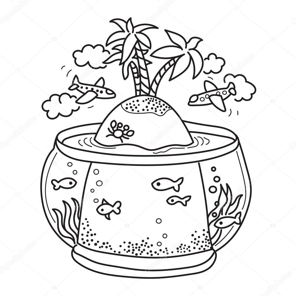 a6af8f605cc49 paradise island in fish tank — Stock Vector © Nevada31  80647364