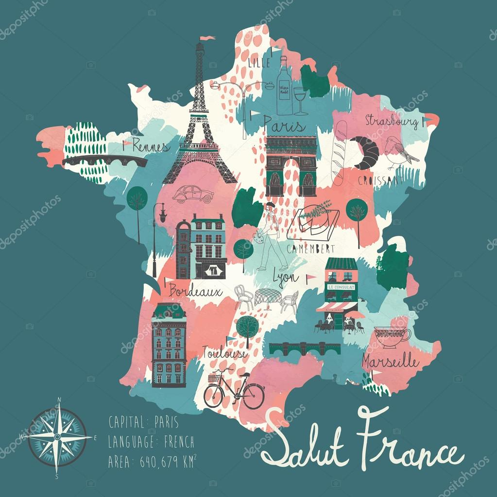 simple cartooned map of france stock vector
