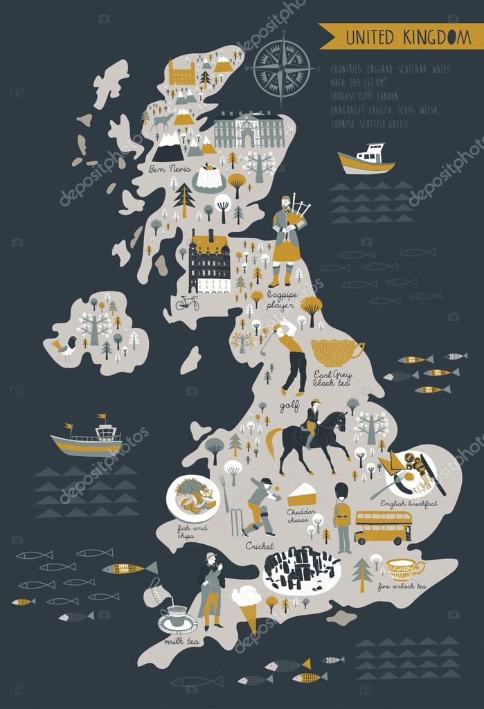 Cartoon Map Of United Kingdom Stock Vector C Lavandaart 108502820