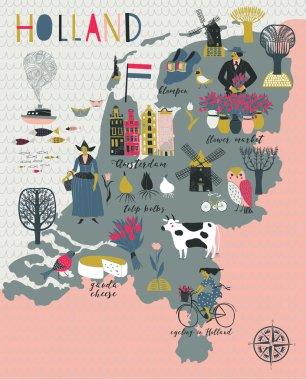 Cartoon Map of Holland
