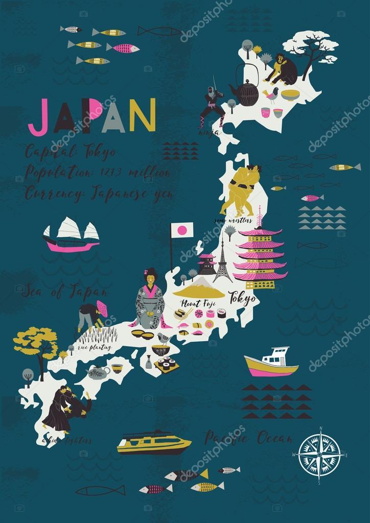 Cartoon Map Of Japan Stock Vector Lavandaart - Japan map cartoon