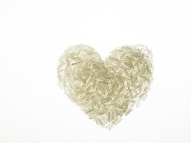 Rice grains heart