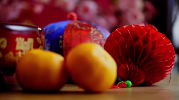 mandarin oranges and chinese red envelope  and other chinese new year decoration items