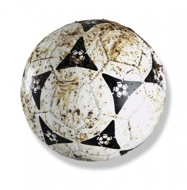 Stock image of the dirty soccer ball with clipping path on white background stock vector