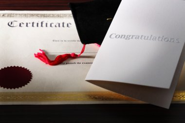 Congratulations Note with Graduation cap