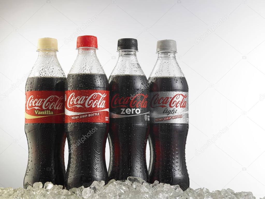 Coca-cola bottles on white background