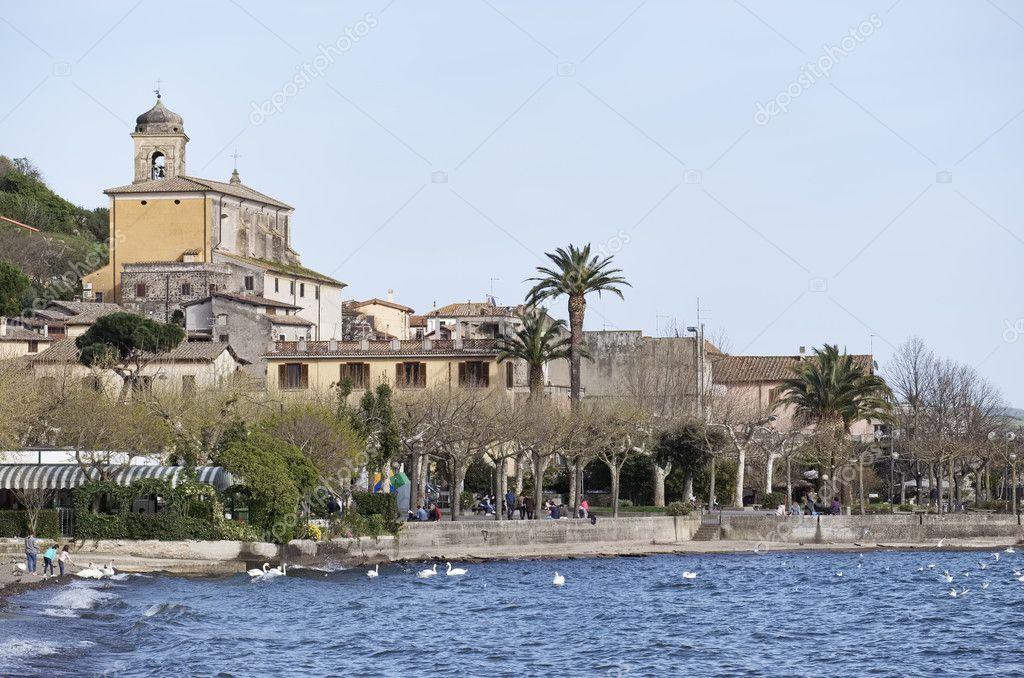 Italy, Lazio, Bracciano lake, Trevignano (Rome), view of the town and the cathedral