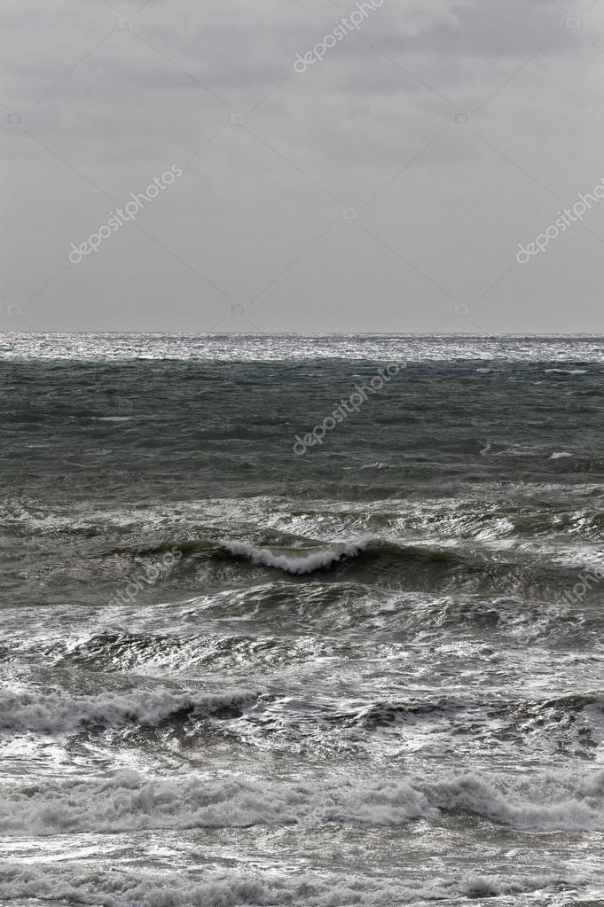 Italy, Sicily Channel, rough Mediterranean sea in winter