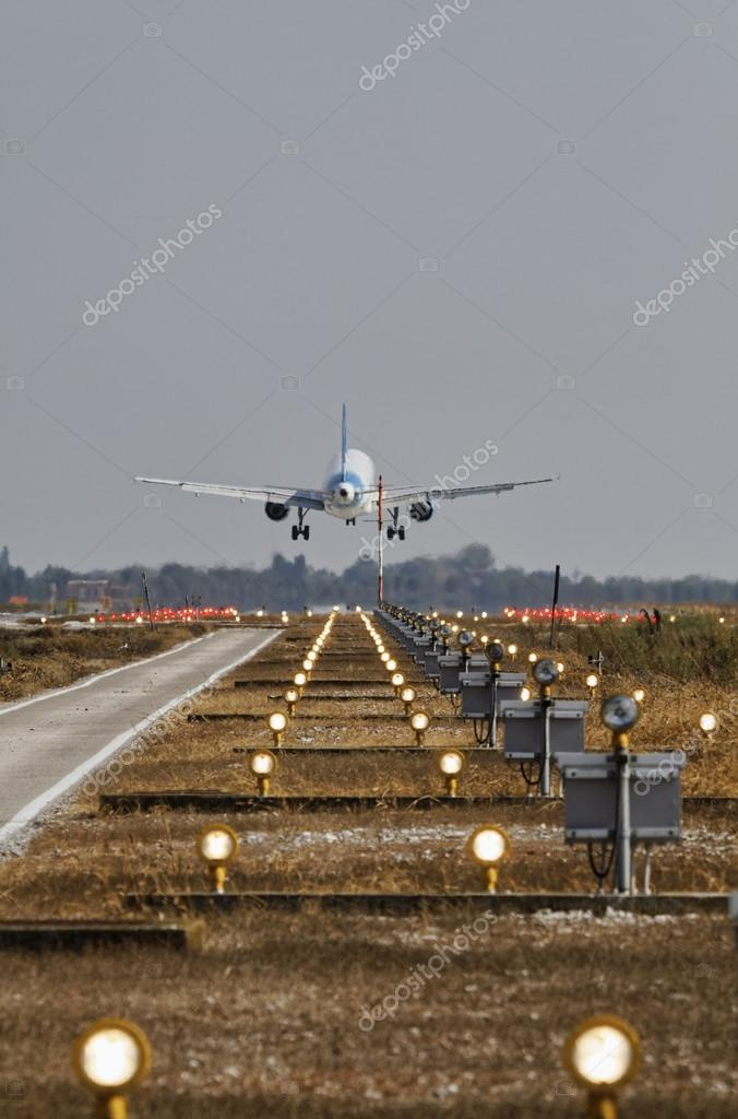 Italy, Venice International Airport, airport landing lights and an