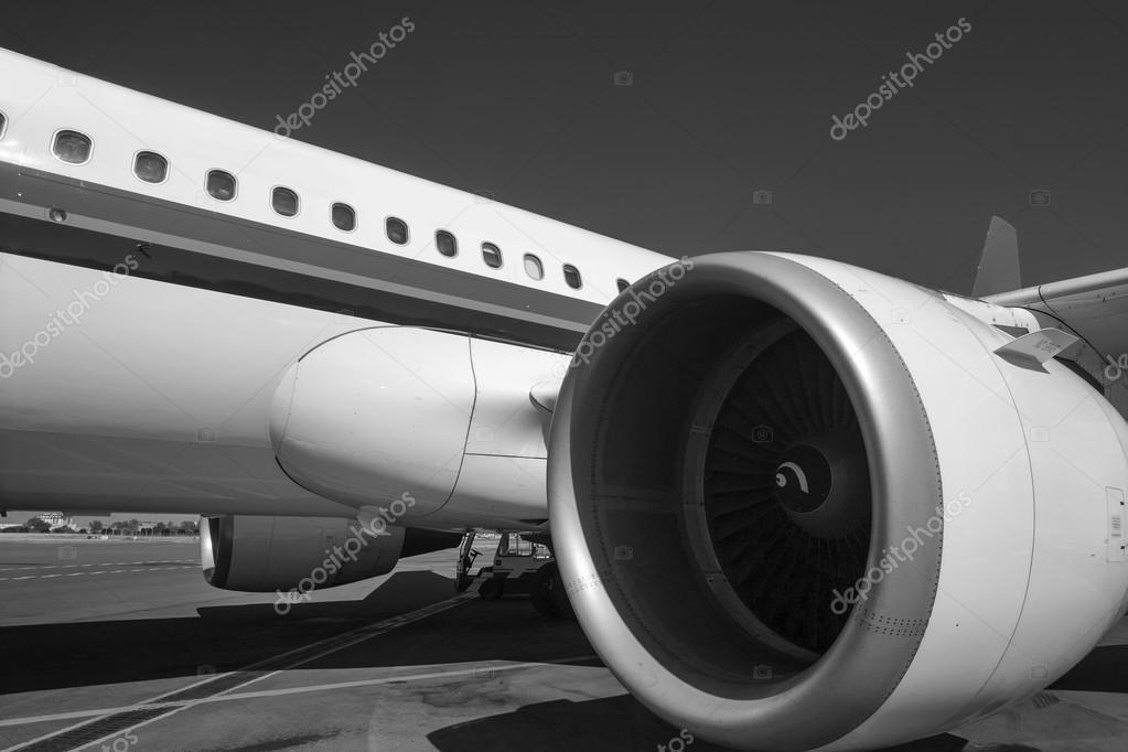 Italy, Sardinia, Olbia International Airport, airplane on the runway