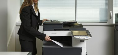 Girl using Xerox machine
