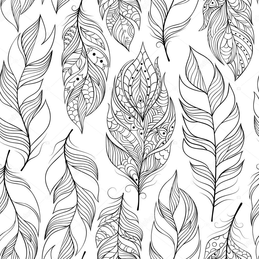 muster mit abstrakten federn — stockvektor © kiyanochka