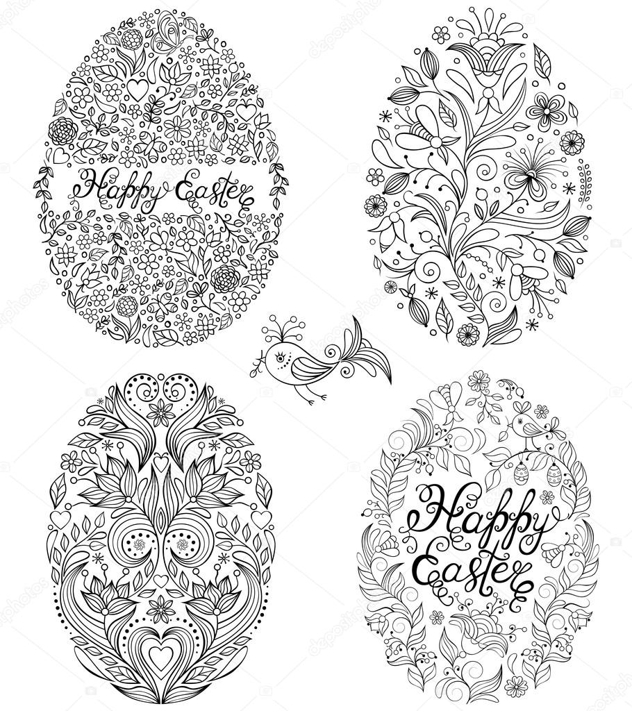 set of floral easter eggs