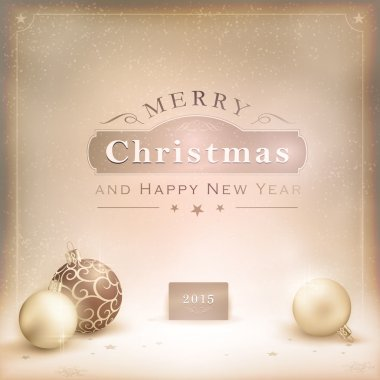 Desaturatet golden Christmas background with baubles
