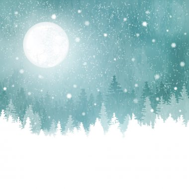 Winter landscape with snowfall, fir trees and full moon