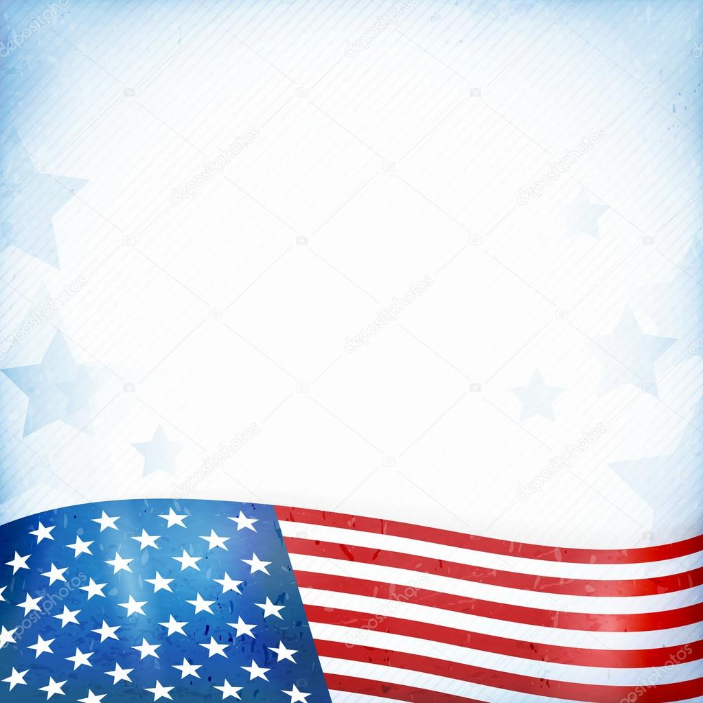 Usa patriotic background with stars and stripes stock vector us american flag themed background or card with wavy flag at the bottom forming a patriotic border on a distressed worn background with faintly visible publicscrutiny Gallery