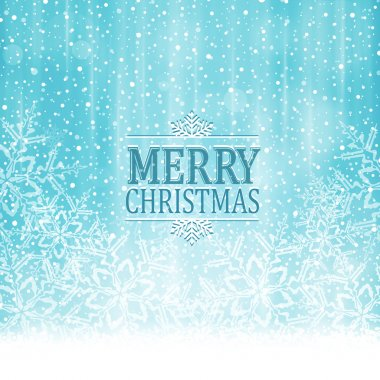 Merry Christmas typography winter wonderland background