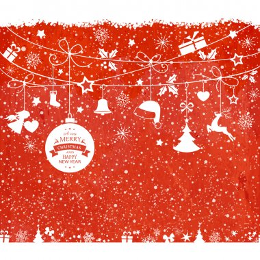 Christmas card with hanging ornaments on texture red background