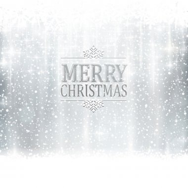 Silver Merry Christmas typography card with light effects