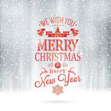 Red silver Merry Christmas typography card with snowfall
