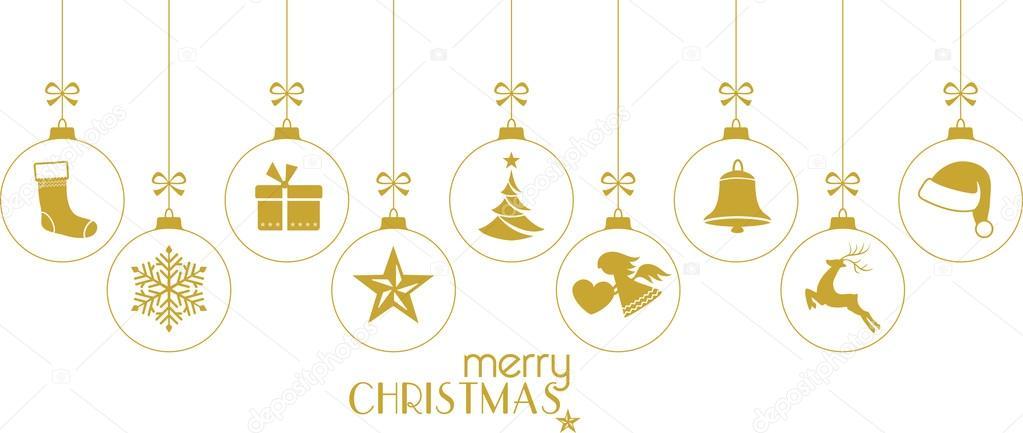 Boules De Noël Dorés Ornements De Noël Blanc Image Vectorielle