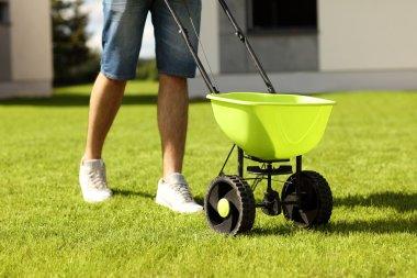 Man seeding grass