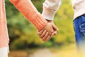 pár drží za ruce v parku