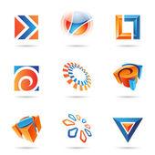 sada abstraktní modré a oranžové ikon 12