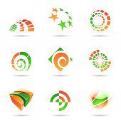 abstraktní ikonu zelené a oranžové sady 19