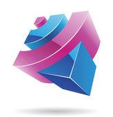 Absztrakt köbméter logó ikon