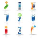 lesklý ikony pro písmeno i