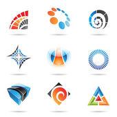 různé barevné abstraktní ikony, sada 5
