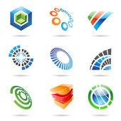 různé barevné abstraktní ikony, sada 7