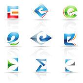 lesklý ikony pro písmeno e